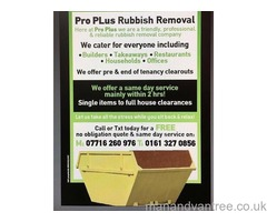 50% OFF PRO PLUS RUBBISH REMOVALS MANCHESTER