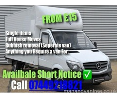 Available Cover Everywhere Man And Van Service Large Van with Tail lift Glasgow