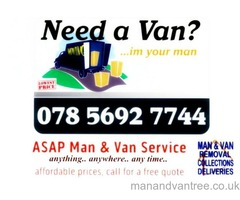 ASAP MAN AND VAN SERVICE | FROM £15/hr | DELIVERIES | REMOVALS | ANYTHING ANYWHERE