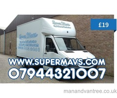 Cheap Man And Big Luton Box Van Moving Home Removal With a Hire Transport Courier Haulage Pallet