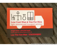 Man With Van Removals collection & delivery