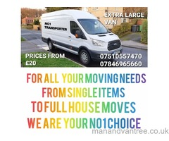 NO1 TRANSPORTERS - MAN AND VAN SERVICE - LOCAL/NATIONAL - REASONABLE RATES!