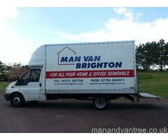 Man and van Removals Brighton using large Luton van with tail lift