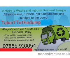 Glasgow West End Rubbish Removal furniture, beds, house, Garden clearance, junk uplift skip hire